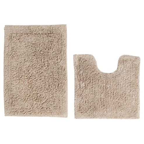 Tesco Pedestal and Bath Mat Set Taupe