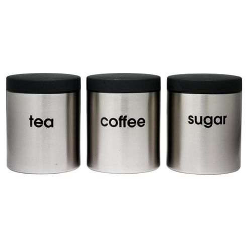 Go Cook 3 piece Stainless Steel Canister Set