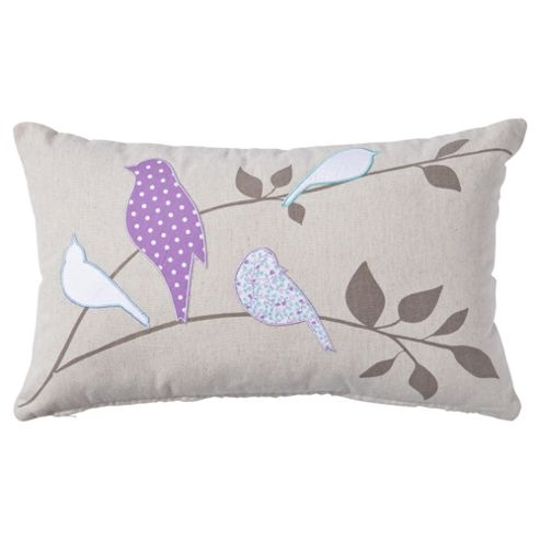 F&F Home applique birds cushion, lilac