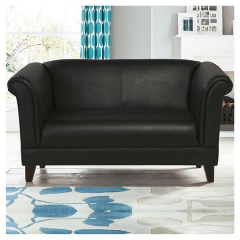 Millie Small 2 seater  Leather Effect Sofa Black Mustang