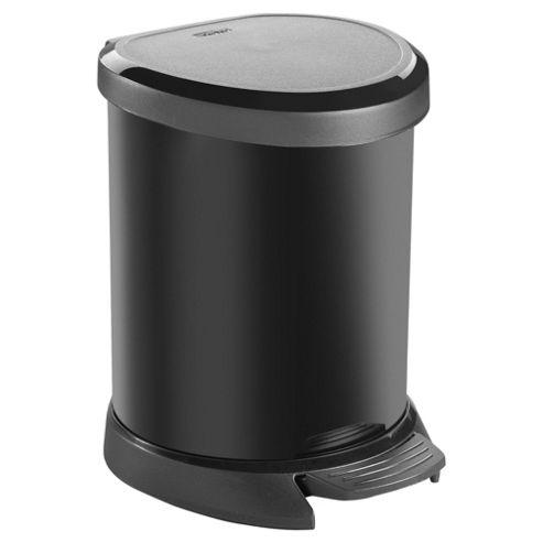 Curver Deco 5 Litre Pedal Bin, Black