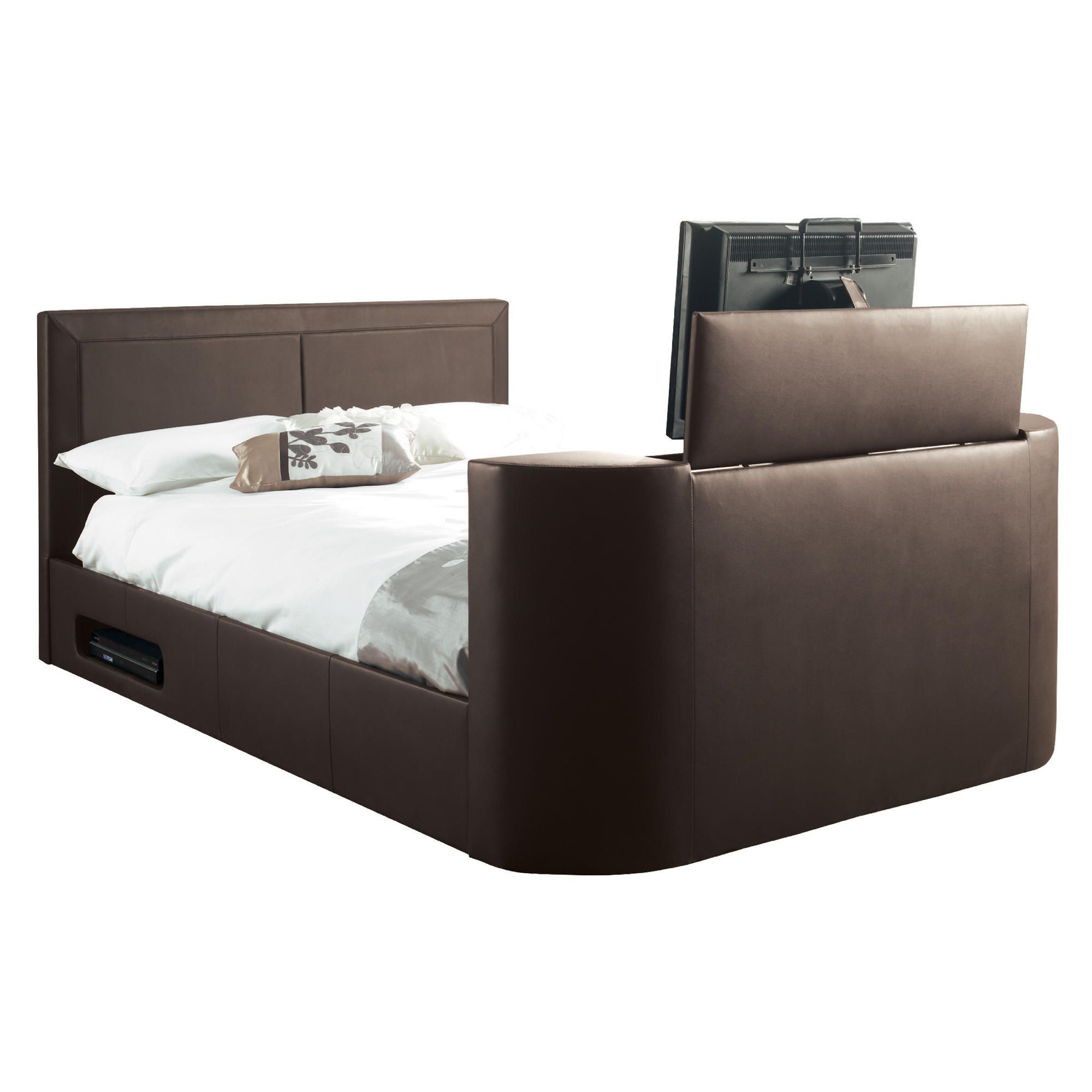 Charlotte King Gas Lift Tv Bed Frame, Brown at Tescos Direct