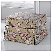 Louisa Loose Cover Fabric Footstool Floral Brown