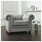 Chesterfield Linen Armchair Silver