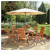 Salcombe 6 Seat Garden Furniture Set with Parasol