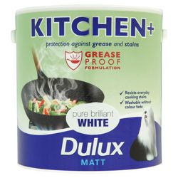 Dulux Kitchen & Matt Pure Brilliant White Paint, 1L
