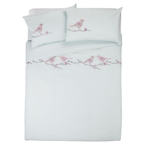 Patterned Birds Duvet Double Aqua