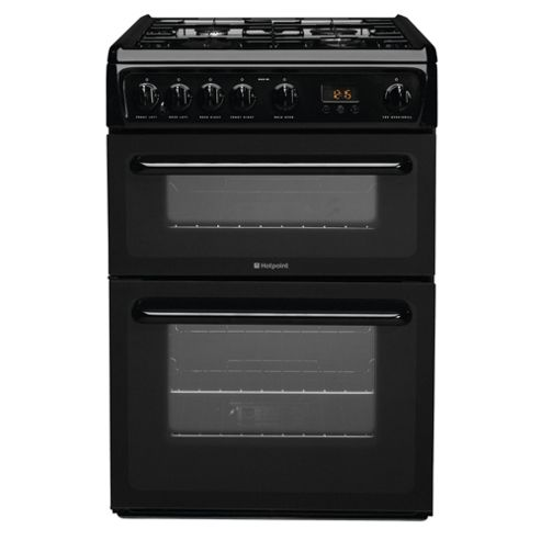 Hotpoint HAG60K, Black, Gas Cooker,  Double Oven, 60cm