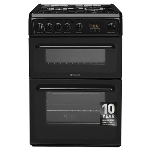 Hotpoint HAG60K Double Oven Gas Cooker - Black