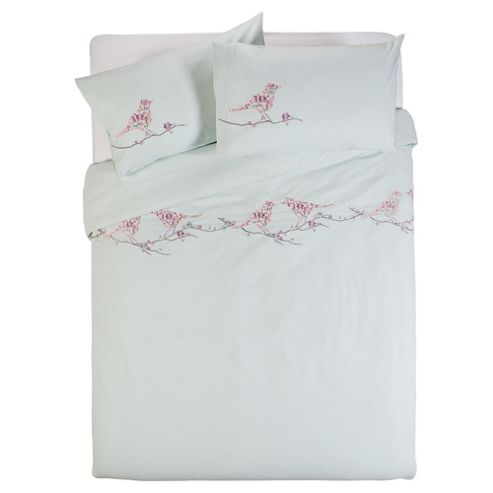 Patterned Birds Kingsize Size Duvet Cover Set
