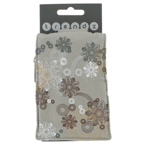 Trendz Phone Pouch Universal Flowers Grey