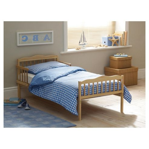 Saplings Junior Bed in a Box, Blue Gingham (Includes bed, mattress, quilt, pillow, pillow case & duvet cover)