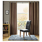 Faux Silk Lined Eyelet Curtains - Mocha