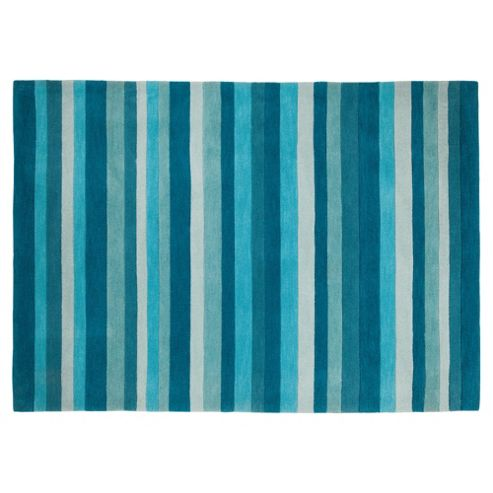 Tesco Rugs Stripes Rug Teal 150X240Cm