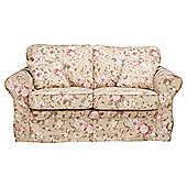 Louisa Medium Sofa with Removable Fabric Cover, Floral Brown