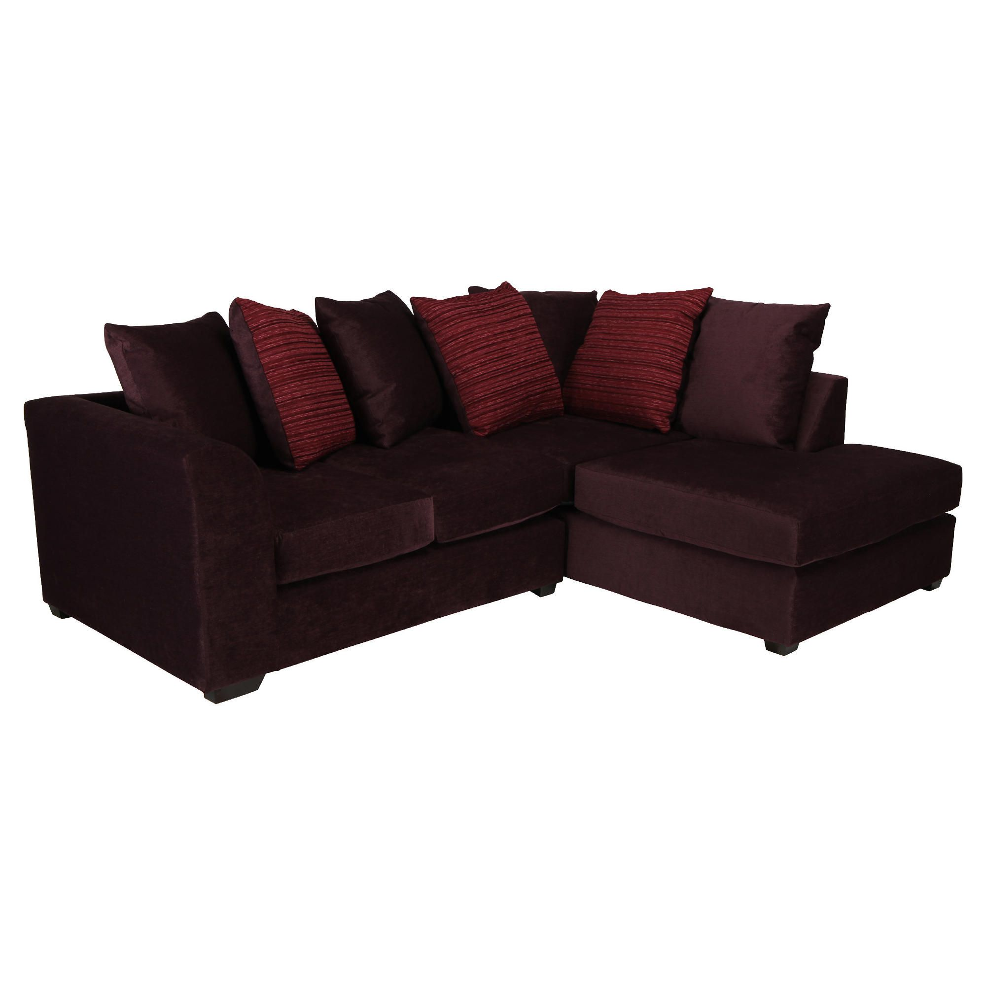 Ontario Fabric Corner Sofa Plum Right Hand Facing at Tesco Direct