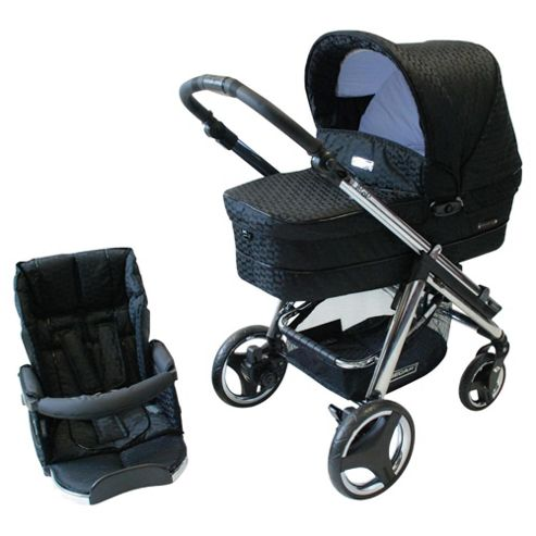 Bebecar Ip-Op chrome Evolution Combination Pram, Black Velvet
