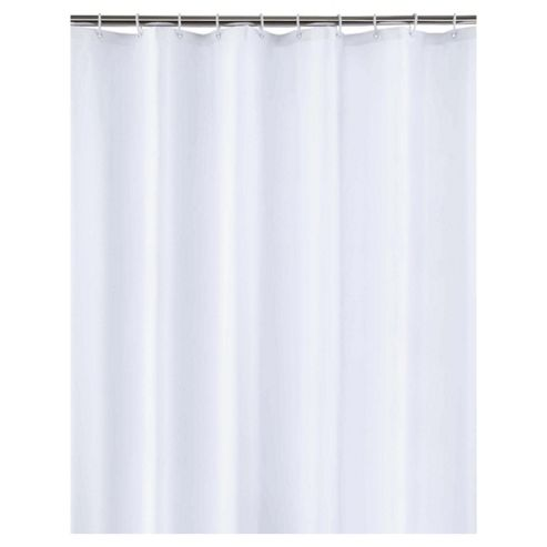 Tesco White Shower Curtain and Rings