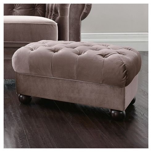 Chesterfield Fabric Footstool, Velvet effect Mink
