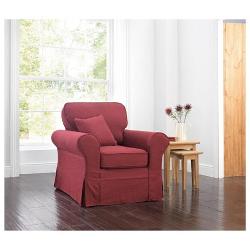 Louisa Armchair with Removable Jaquard Cover, Wine