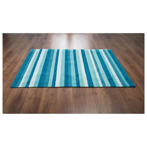 Tesco Rugs Stripes Rug Teal 120X170Cm