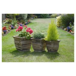 Set of 3 Wooden Planters