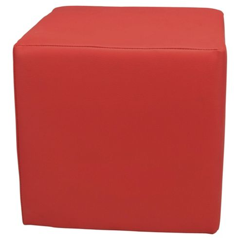 Stanza Leather Effect Cube / Foot stool Red