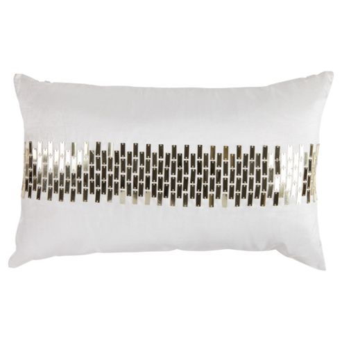 F&F Home Sequin Panel Cushion, Ivory