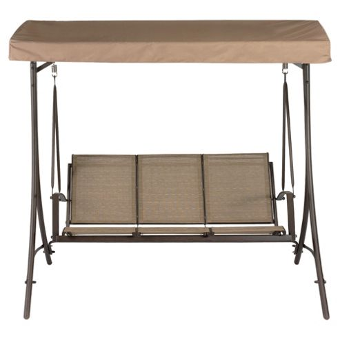 Sorrento Metal/Waterproof Woven Textile 3 Seat Swing - Cocoa