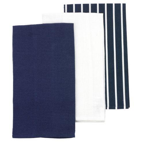 Tesco Blue Butcher Stripes Stripe Tea Towel 3pk