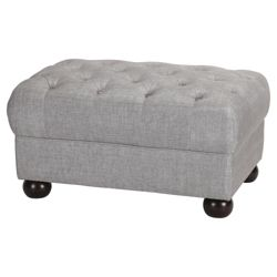 Chesterfield Fabric Footstool Linen, Silver