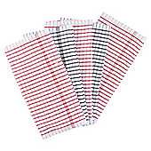 Tesco terry tea towels, red & white 5 pack