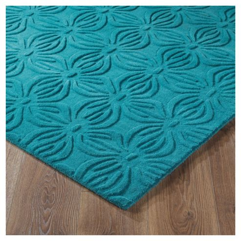 Tesco Rugs Embossed Floral Rug Teal 150X240Cm