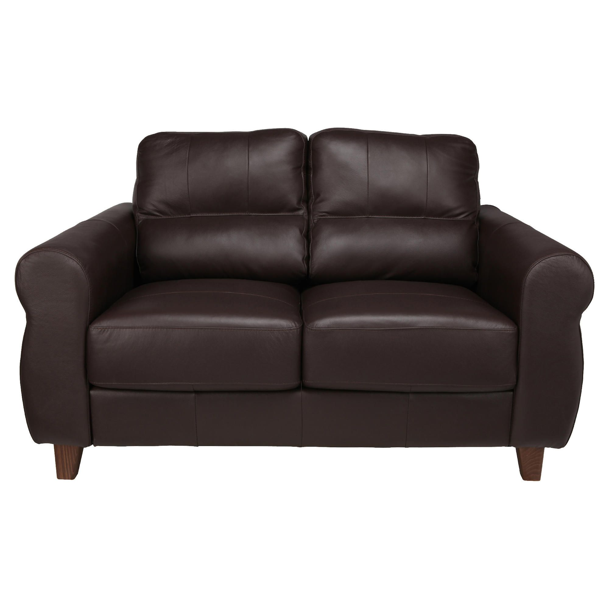 Fabio Small Leather Sofa Brown at Tescos Direct