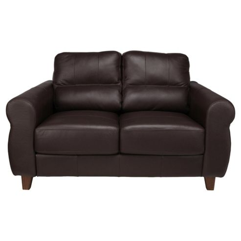 Fabio Small Leather Sofa Brown