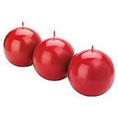 Tesco unfragranced red ball candles 3pk