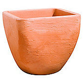 Small Square Top Round Base Planter - Terracotta 33cmxH30cm
