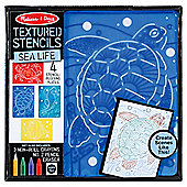 Melissa & Doug Wooden Textured Stencils Sea Life