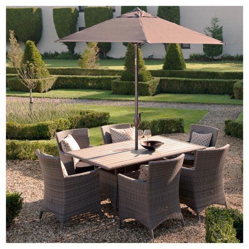 Homes & Gardens Wooden 6 Seater Set & Parasol