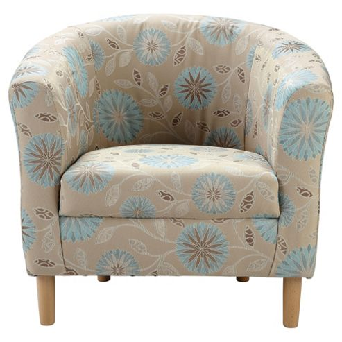 Tub Fabric Accent Chair Blue Exeter Floral