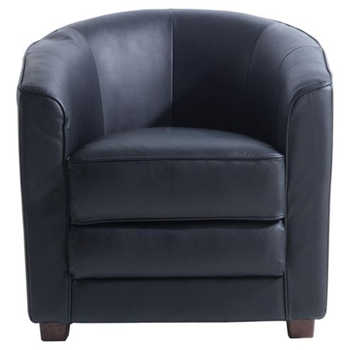 Miami Leather Tub Chair, Black