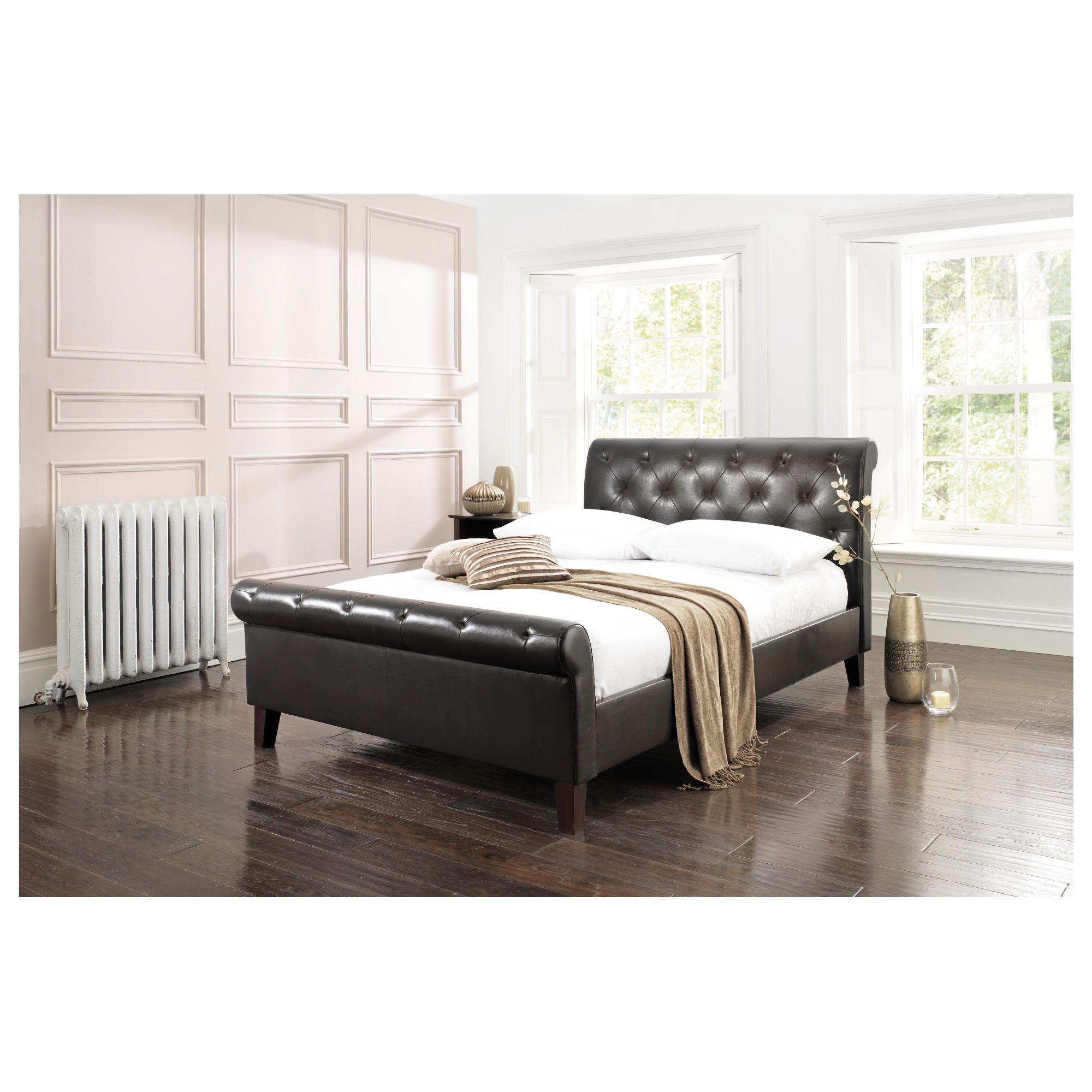 York King Padded Scroll Bed Frame, Brown at Tesco Direct