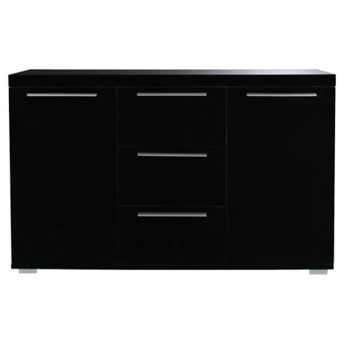 Milan High Gloss Large Sideboard with Chrome Handles, Black