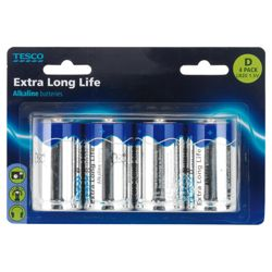 Tesco Extra long Life 4 Pack D Batteries