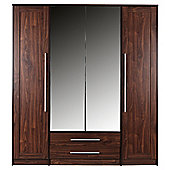 Kendal Quadruple Wardrobe, Walnut-Effect
