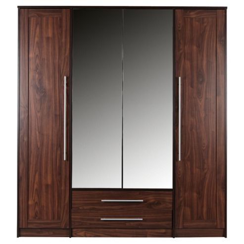 Kendal 4 Door Wardrobe with Drawers, Walnut Effect