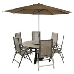 Bellagio Capri 6 Seat Set inc Parasol & Base