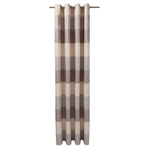 Tesco Stripe Taffeta Lined Eyelet Curtains W163Xl183Cm (64X72), Mocha