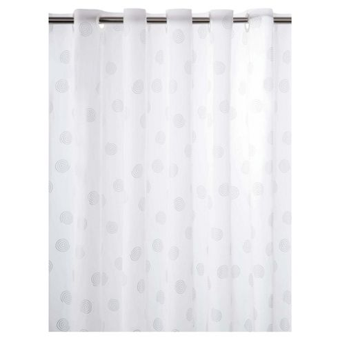Tesco Silver Swirls Shower Curtain and Rings