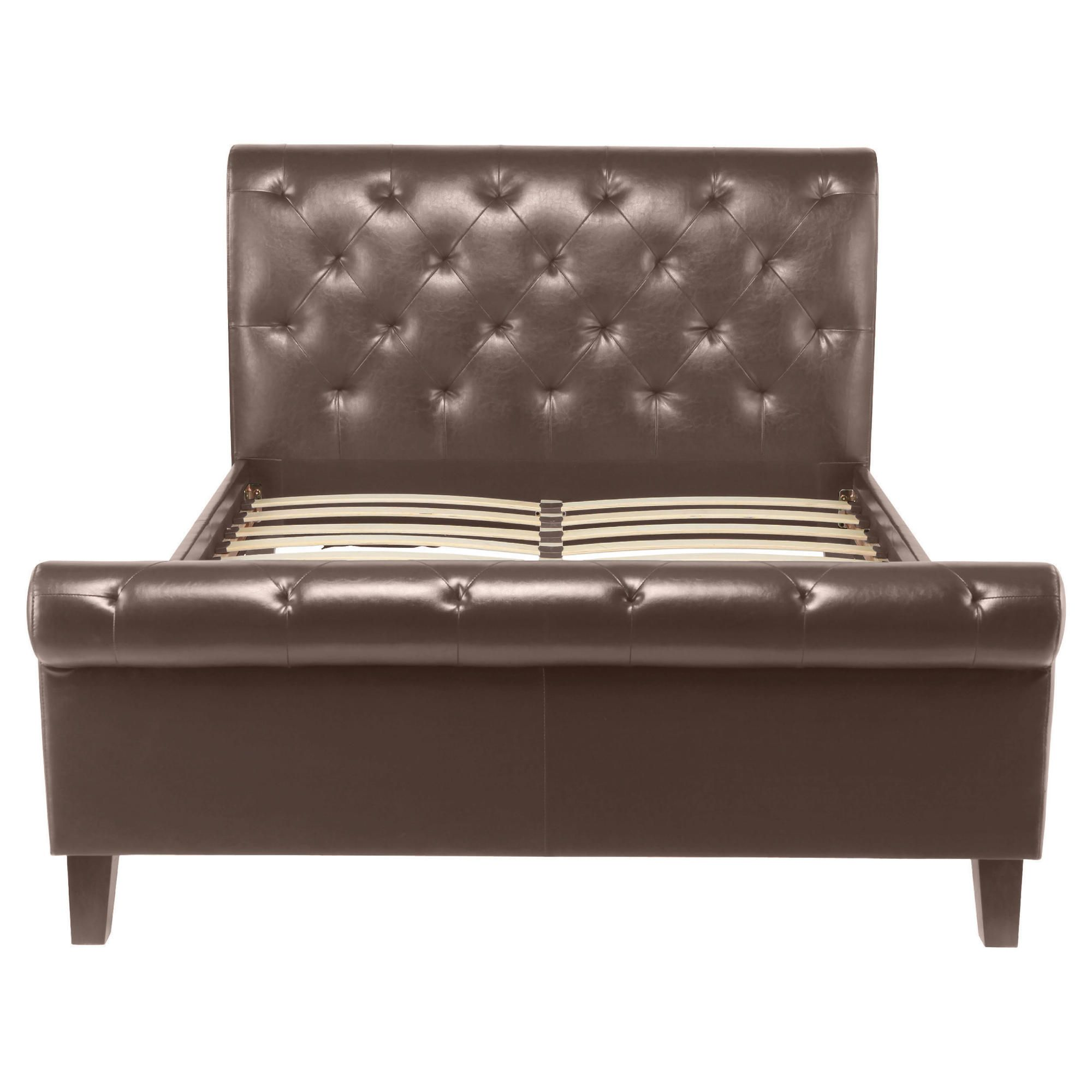 York Double Padded Scroll Bed Frame, Brown at Tesco Direct
